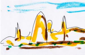 Dibujo creados por Carlos Saura para la Película la Jota. Empresa Productora TRESMONSTRUOS.
